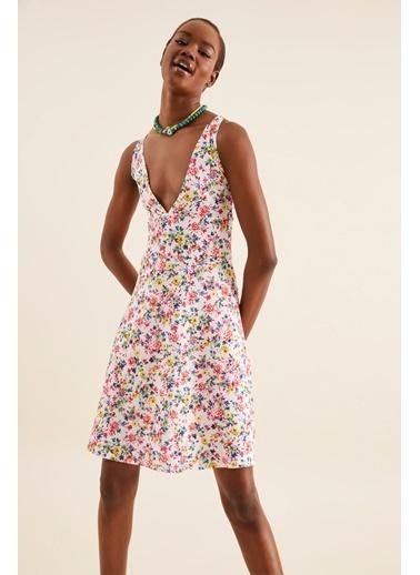 Quincey V Yaka Elbise Renkli